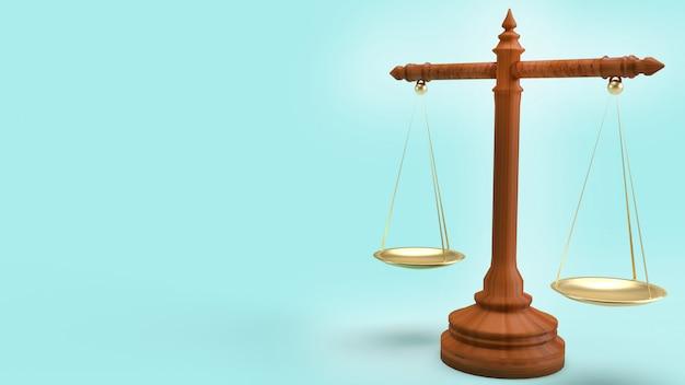 Loi Balance Sur Fond Bleu Rendu 3d Pour Le Contenu De La Loi. Photo Premium