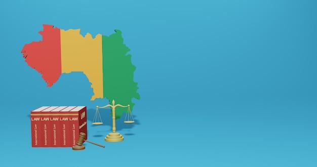 Loi De Guinée Bissau Pour L'infographie, Le Contenu Des Médias Sociaux Dans Le Rendu 3d Photo Premium