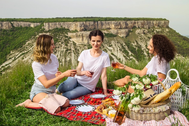 Loisirs de printemps et d'été dans la nature avec des mets et des vins délicieux Photo Premium