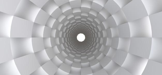 Long tunnel blanc en tant qu'arrière-plan abstrait pour votre conception. 3d. Photo Premium