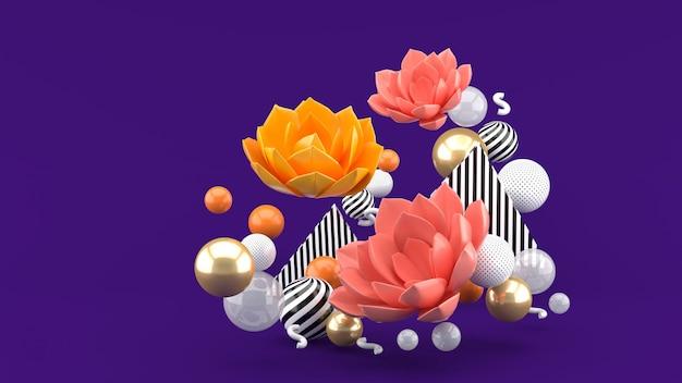 Le Lotus Rose Parmi Les Boules Colorées Sur L'espace Violet Photo Premium