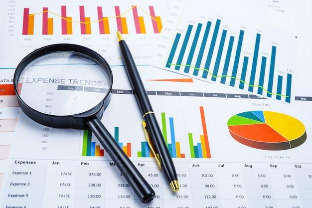 Loupe sur les graphiques graphiques feuille de calcul. Photo Premium