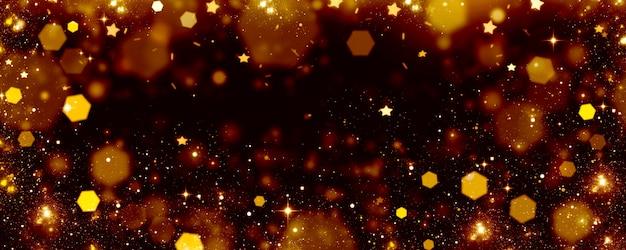 Lumières Dorées Sur Fond Noir, Arrière-plan Flou De Bokeh Festif Avec Des Lumières Rougeoyantes Et Des étoiles Photo Premium