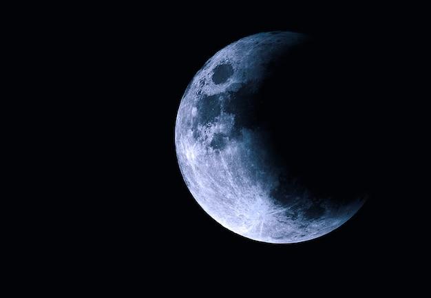 Lune Dans L'espace, Demi-lune Avec éclipse Photo Premium