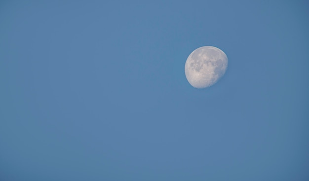 Lune en plein jour sur le ciel Photo Premium