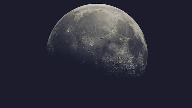 Lune Réaliste Dans L'espace Isolé Sur Fond Noir Photo Premium