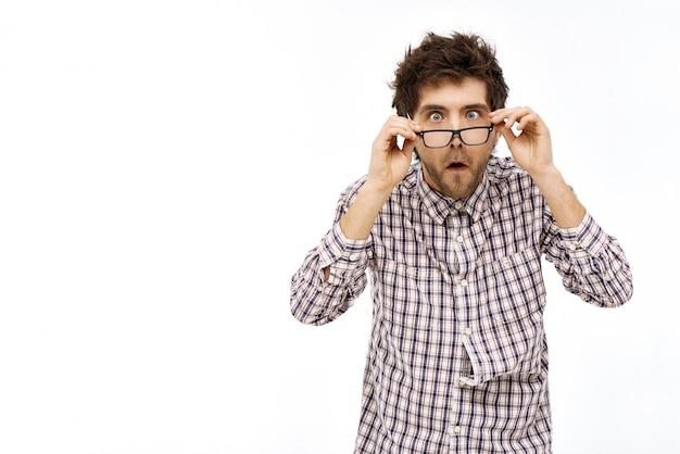 Lunettes De Décollage Choqué Homme Surpris Photo gratuit