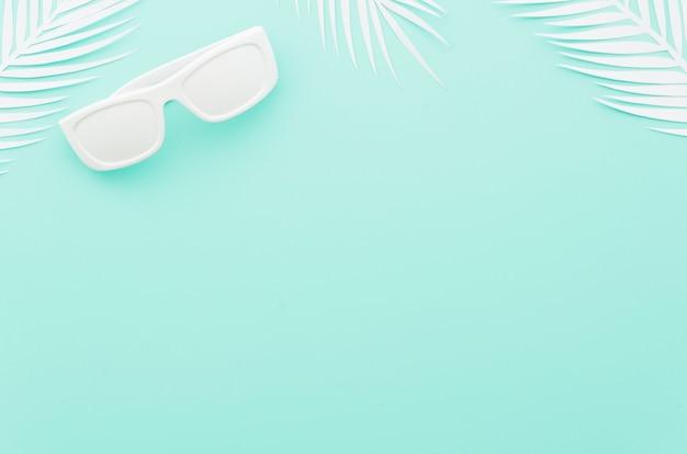 Lunettes de soleil avec des feuilles de palmier blanches Photo gratuit