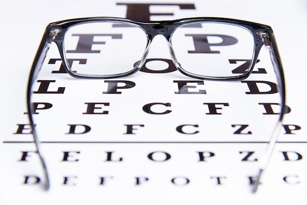 Les lunettes sont posées sur la table pour l'examen des yeux. Photo Premium