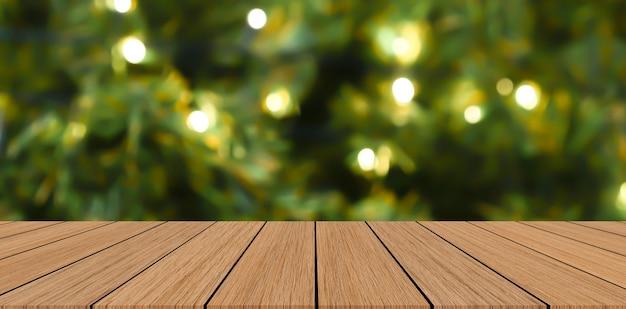 Lur Décoré Noël Ornement Pin Arbre Fond Avec Bois Perspective Table Photo Premium