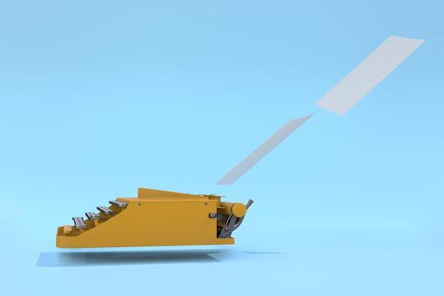Machine à écrire Jaune Et Papier Flottant Sur Un Fond Pastel Bleu. Concept Minimal. Photo Premium