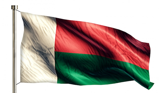 Madagascar national flag isolated 3d fond blanc Photo gratuit