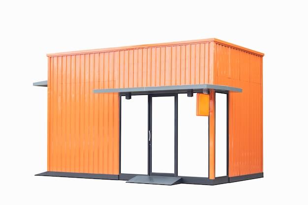 Magasin orange isolé sur blanc Photo Premium