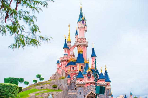 Magnifique château de princesse magique au parc de conte de fées Photo Premium