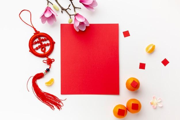 Magnolia et carte maquette du nouvel an chinois Photo gratuit