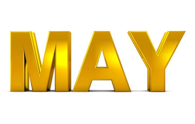 Mai Or Texte 3d Mai Mois Abréviation Isolé Sur Fond Blanc Rendu 3d. Photo Premium