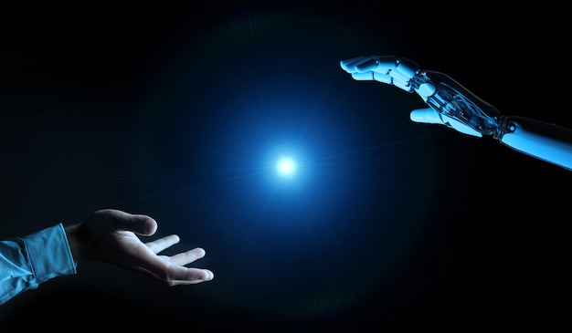 Main cyborg blanche sur le point de toucher le rendu 3d de la main de l'homme Photo Premium