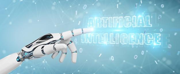 Main cyborg blanche utilisant le rendu 3d hologramme numérique en texte avec intelligence artificielle Photo Premium