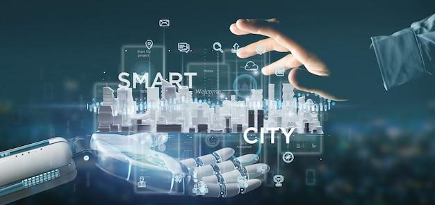 Main cyborg tenant l'interface utilisateur de la ville intelligente avec icône, statistiques et données, rendu 3d Photo Premium
