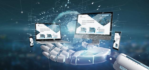 Main cyborg tenant un des périphériques connectés à un réseau de commerce mondial rendu 3d Photo Premium