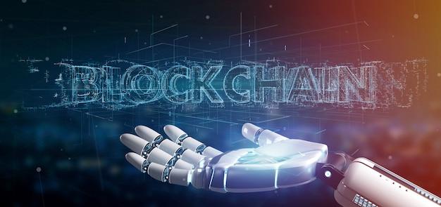Main cyborg tenant un titre de blockchain Photo Premium
