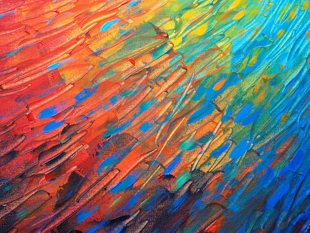 Main dessiner abstrait texture et peinture à l'huile colorée. Photo Premium