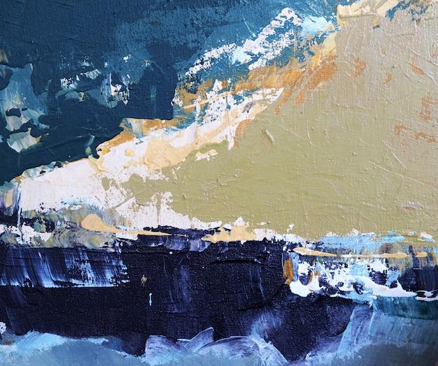 Main Dessiner Peinture à L'huile Couleur Beige Pinceau Trait Texture Abstraite Sur Toile. Photo Premium