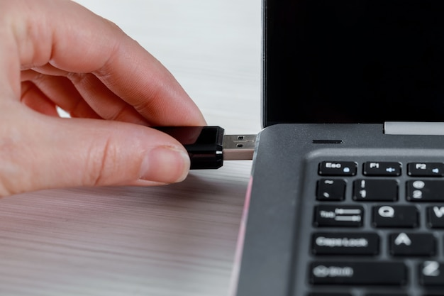 Main féminine insérant un lecteur flash usb et un ordinateur portable Photo Premium
