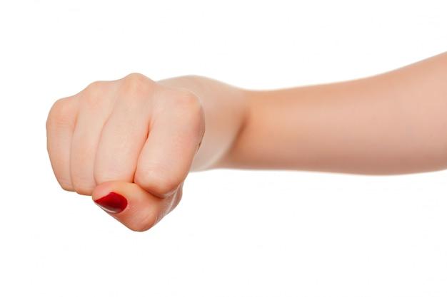 Main de femme avec geste de poing isolé sur blanc Photo Premium