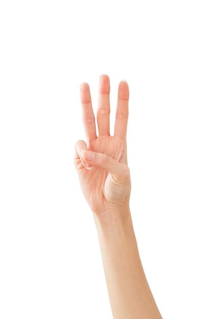 Main de femme montrant la paix trois sur blanc Photo Premium