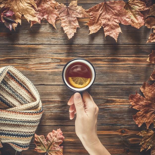 Main de femme tient pour la tasse de thé noir chaud concept de saison de la mode automne Photo Premium