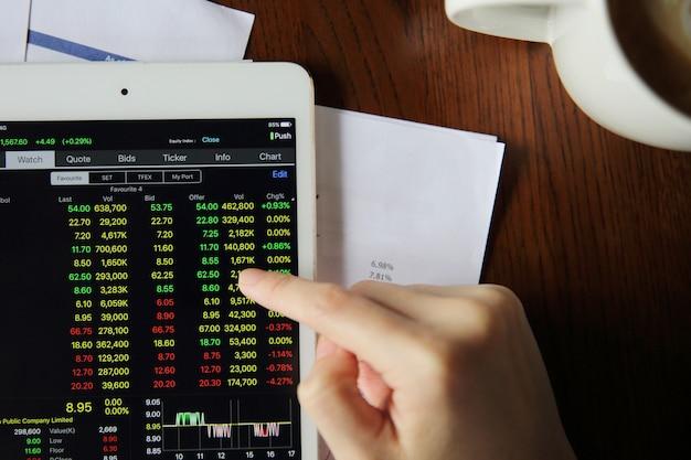 Main de femme trading en ligne sur tablette avec papier d'affaires et café Photo Premium
