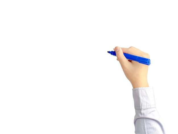 Main D'homme D'affaires Jeune écrivant Avec Le Stylo Bleu Photo Premium