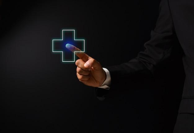 Main de l'homme avec la conception de la santé Photo Premium