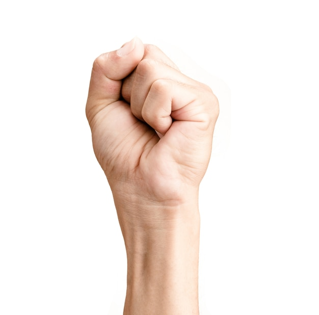 Main de l'homme serré un poing isolé sur fond blanc Photo Premium