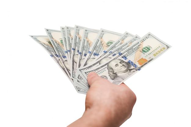 Main D'homme Tenant Des Billets De Banque En Dollars Photo Premium