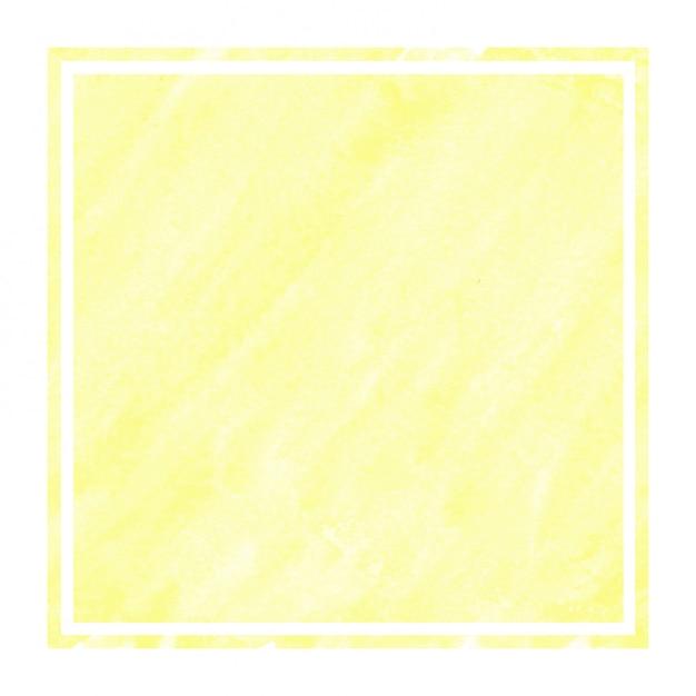 Main jaune chaud dessiné texture d'arrière-plan aquarelle cadre rectangulaire avec des taches Photo Premium