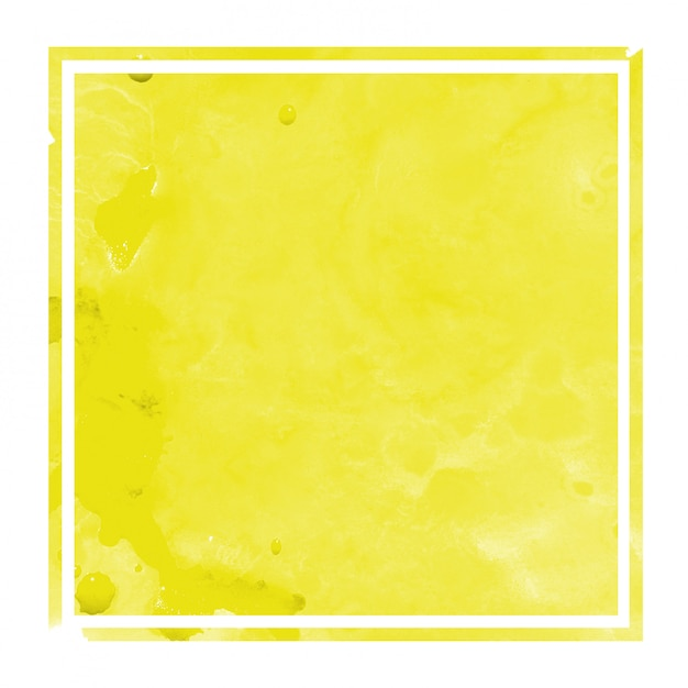Main jaune dessiné texture d'arrière-plan aquarelle cadre rectangulaire avec des taches Photo Premium