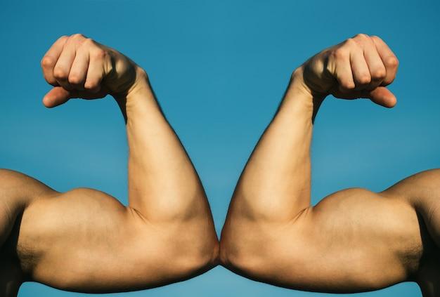 Main Musclée Vs Main Forte. Concurrence, Comparaison De Force. Contre. Lutter Dur Photo Premium