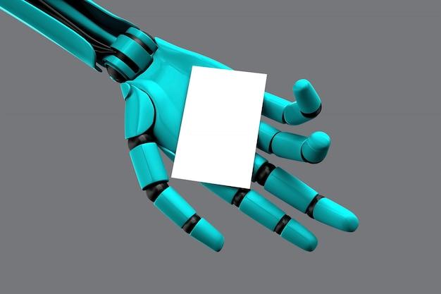 Main de robot tenant une carte de visite vide Photo Premium