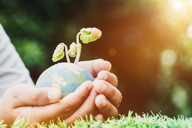 Main tenant le modèle de globe d'argile avec des plantes d'ensemencement pour sauver le monde en journée ensoleillée sur l'herbe verte Photo Premium