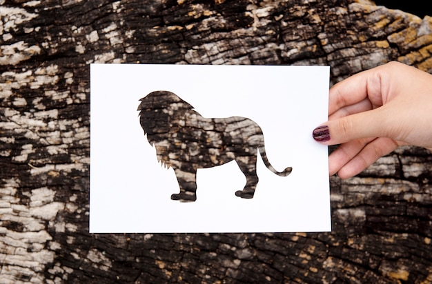 Main tenant le papier lion sculpture avec fond en bois Photo gratuit
