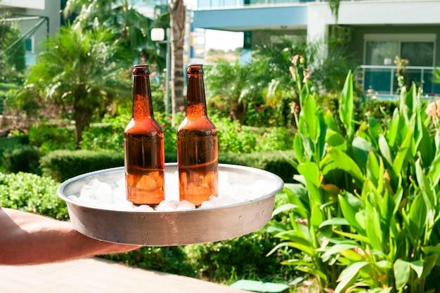 Main tenant un plateau avec des bouteilles de glace et de bière Photo gratuit