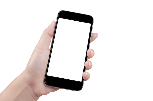 Main tenant le téléphone avec un écran vide. Photo Premium