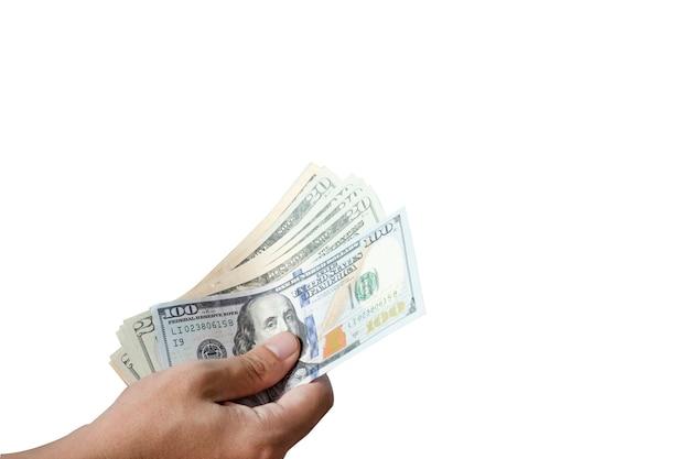 Main tenir et donner des billets en dollars. donnez et concept de paiement. Photo Premium