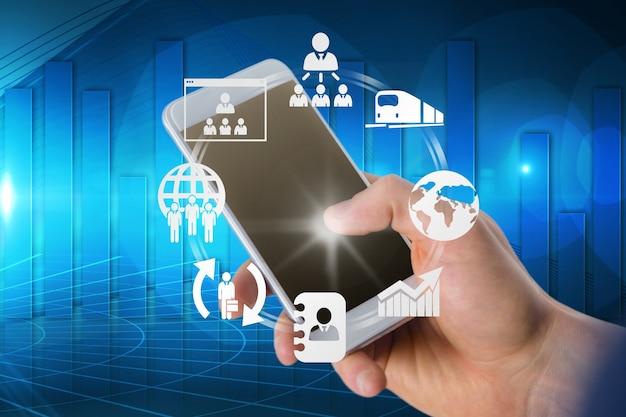 Main toucher mobile avec des applications Photo gratuit