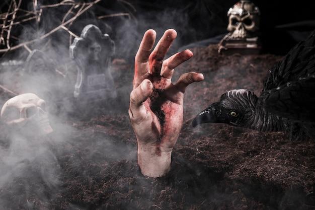 Main de zombie sale et oiseau effrayant au cimetière d'halloween Photo gratuit