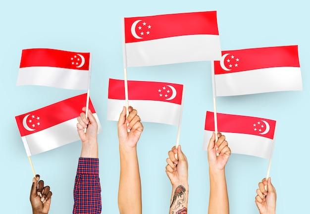 Mains agitant des drapeaux de singapour Photo gratuit