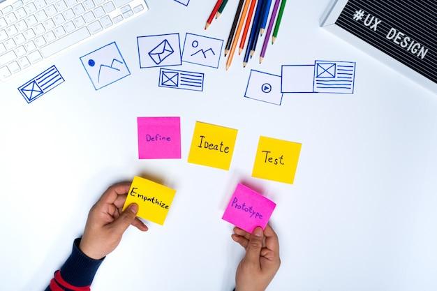 Des mains de concepteur d'ux tenant des mots empathize et prototype sur des notes autocollantes. Photo Premium