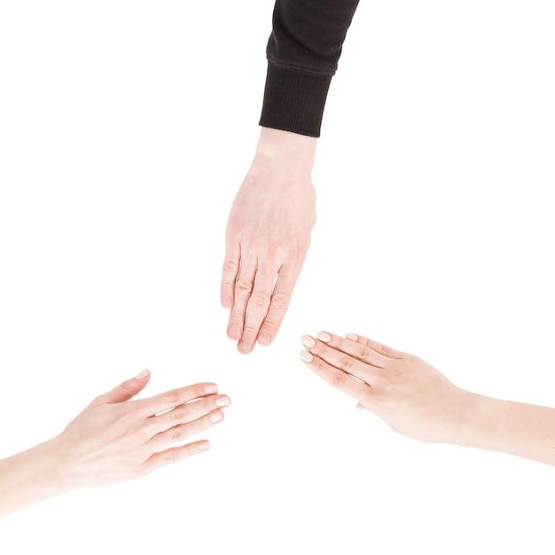 Mains de culture montrant le geste de papier Photo gratuit